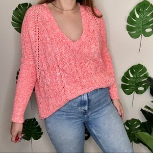 NWT Express Chunky Cable Knit Pink V-Neck Sweater